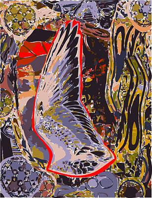 Tall Bird Wing With Border  Print by F Burton