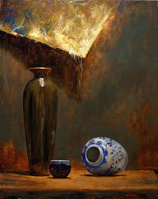 Tall Green Vase Original by Richard Meister