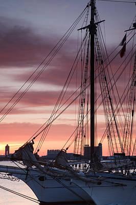 Tall Ship Moored At A Harbor, Sail Print by Panoramic Images