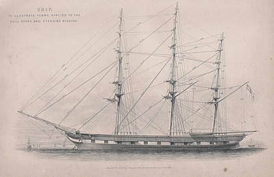 Tall Ship Rigging Print by Victorian Engraver