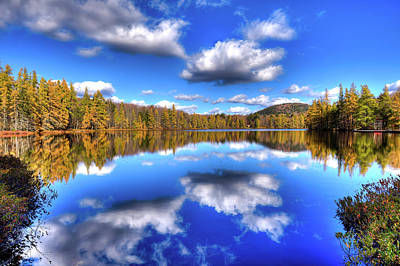 Autumn Foliage Photograph - Tamarack Reflections At Woodcraft by David Patterson