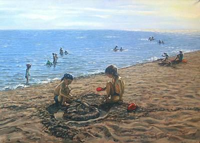 Sand Castles Painting - Tamers Of Hot Sand by Maren Jeskanen