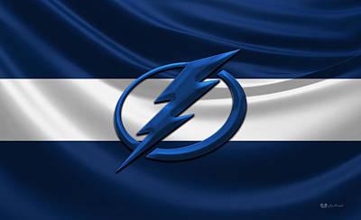 Tampa Bay Lightning - 3d Badge Over Silk Flag Print by Serge Averbukh