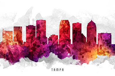 Towns Digital Art - Tampa Florida Cityscape 14 by Aged Pixel