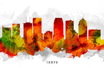 Florida Digital Art - Tampa Florida Cityscape 15 by Aged Pixel