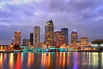 Tampa Skyline At Dusk Early Evening Print by Jon Holiday