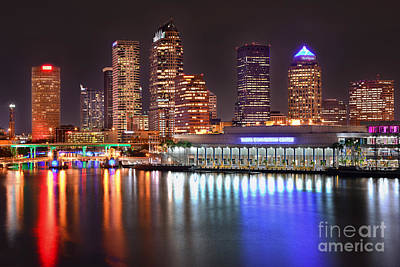 Tampa Skyline At Night Early Evening Print by Jon Holiday