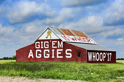 Tamu Aggie Barn Print by Stephen Stookey