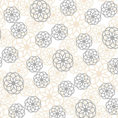 Tan And Silver Floral Pattern Print by Christina Rollo