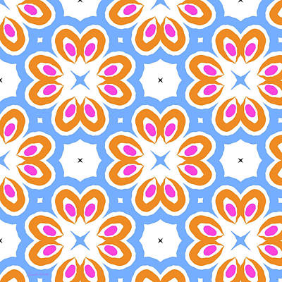 Tangerine And Sky Floral Pattern- Art By Linda Woods Print by Linda Woods