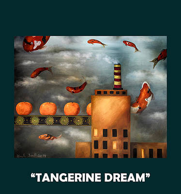 Tangerines Painting - Tangerine Dream With Lettering by Leah Saulnier The Painting Maniac