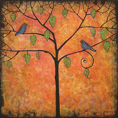 Bluebird Painting - Tangerine Sky by Blenda Studio