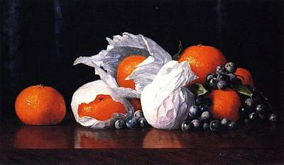 Tangerines In Tissues With Grapes Print by William Joseph