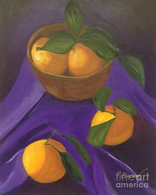 Tangerine Painting - Tangerines On Purple by Patricia Cleasby