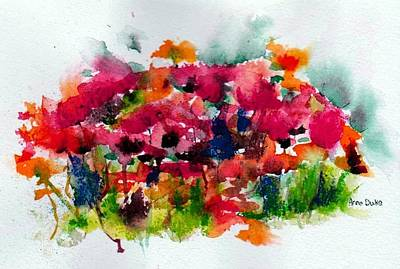 Poppies Field Painting - Tangle by Anne Duke