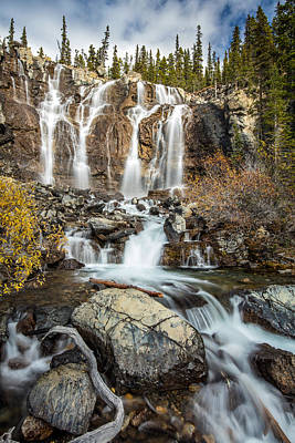 Nature Photograph - Tangle Waterfall On The Icefield Parkway by Pierre Leclerc Photography