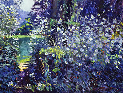 Pathway Painting - Tangled White Flowers  by David Lloyd Glover