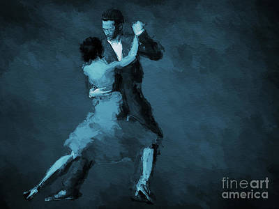 Isolated Digital Art - Tango In Blue by John Edwards
