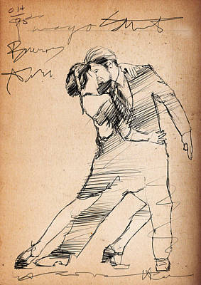 Passion Drawing - Tango Street by H James Hoff
