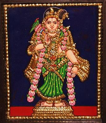 Tanjore Painting - Andal Print by Poornema Ramasundaram