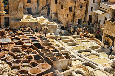 Tanneries Of Fes Morroco Print by David Smith