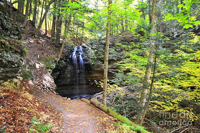 Autumn Landscape Photograph - Tannery Falls In Alger County Michigan by Terri Gostola