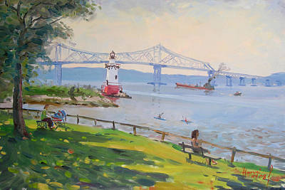 Tappan Zee Bridge And Light House Print by Ylli Haruni