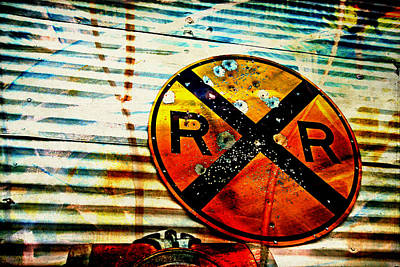 Railroad Crossing Sign Photograph - Target Practice by Toni Hopper