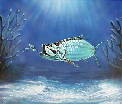 Airbrush Painting - Tarpon by Larry Cole