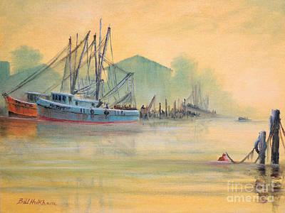 Docks And Boat Painting - Tarpon Springs Sponge Docks Misty Sunrise by Bill Holkham