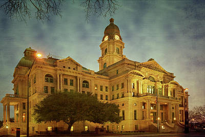 Courthouse Photograph - Tarrant County Courthouse Rebirth Textured by Joan Carroll