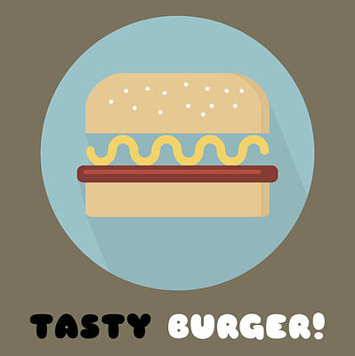 Tasty Tasty Burger Poster Print - Food Art Print by Beautify My Walls