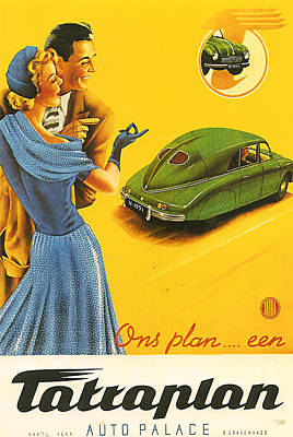 Vintage Car Advert Digital Art - Tatraplan by Georgia Fowler
