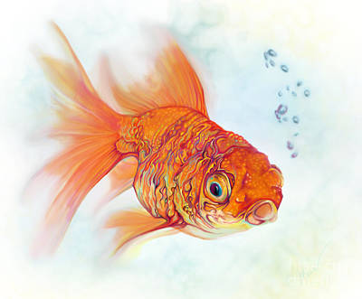 Goldfish Digital Art - Tattoo And Watercolor Goldfish by Julianne Black