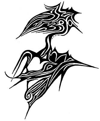 Abstract Hearts Drawing - Tattoo Bird by Jera Sky