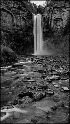 Taughannock Falls In Bw Print by Stephen Stookey