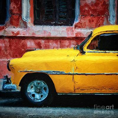 Taxi Digital Art - Taxi Against Red Wall by Amy Cicconi