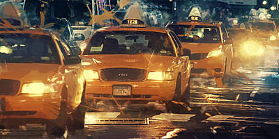 Taxi Digital Art - Taxi - New York City by Afterdarkness