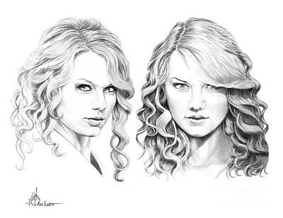 Taylor Swift Drawing - Taylor Swift And Taylor Swift by Murphy Elliott