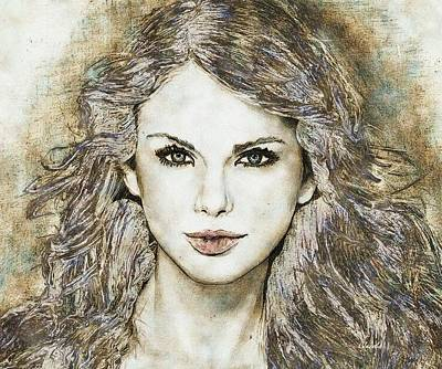 Taylor Swift Drawing - Taylor Swift by Carole Jacobs