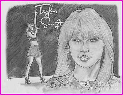 Taylor Swift Drawing - Taylor Swift by Chris  DelVecchio