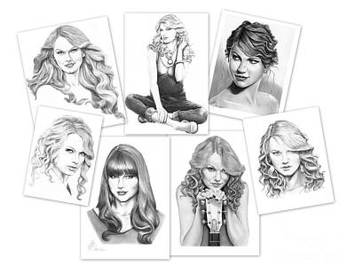 Taylor Swift Drawing - Taylor Swift Collage by Murphy Elliott