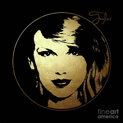 Taylor Swift Digital Art - Taylor Swift In Gold Circle by Wagner Povoa