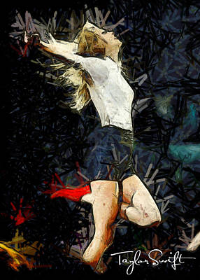 Taylor Swift Painting - Taylor Swift On Stage by Sir Josef Social Critic - ART