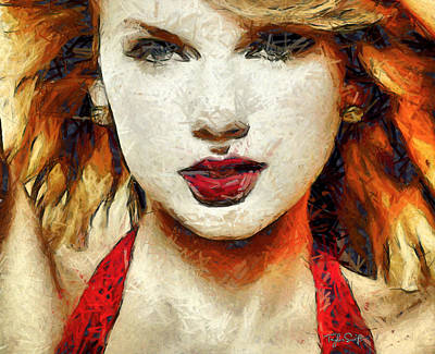 Taylor Swift Painting - Taylor Swift - On The Go by Sir Josef Social Critic - ART