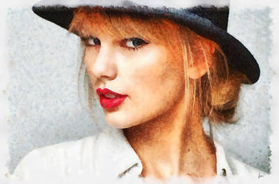 P.r Painting - Taylor Swift Painting On Canvas by Sir Josef Social Critic - ART