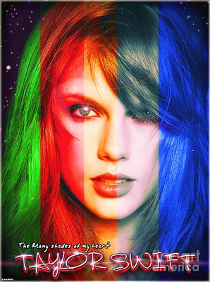 Taylor-swift Digital Art - Taylor Swift - Sparks Alt Version by Robert Radmore