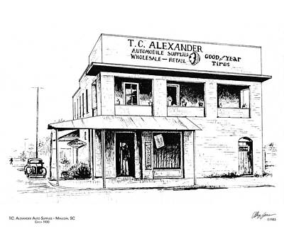 Store Drawing - Tc Alexander Store by Greg Joens