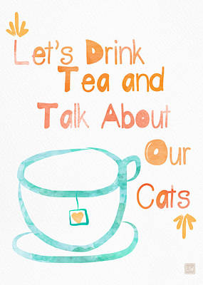 Tea And Cats Print by Linda Woods