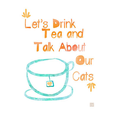 Tea And Cats Square Print by Linda Woods